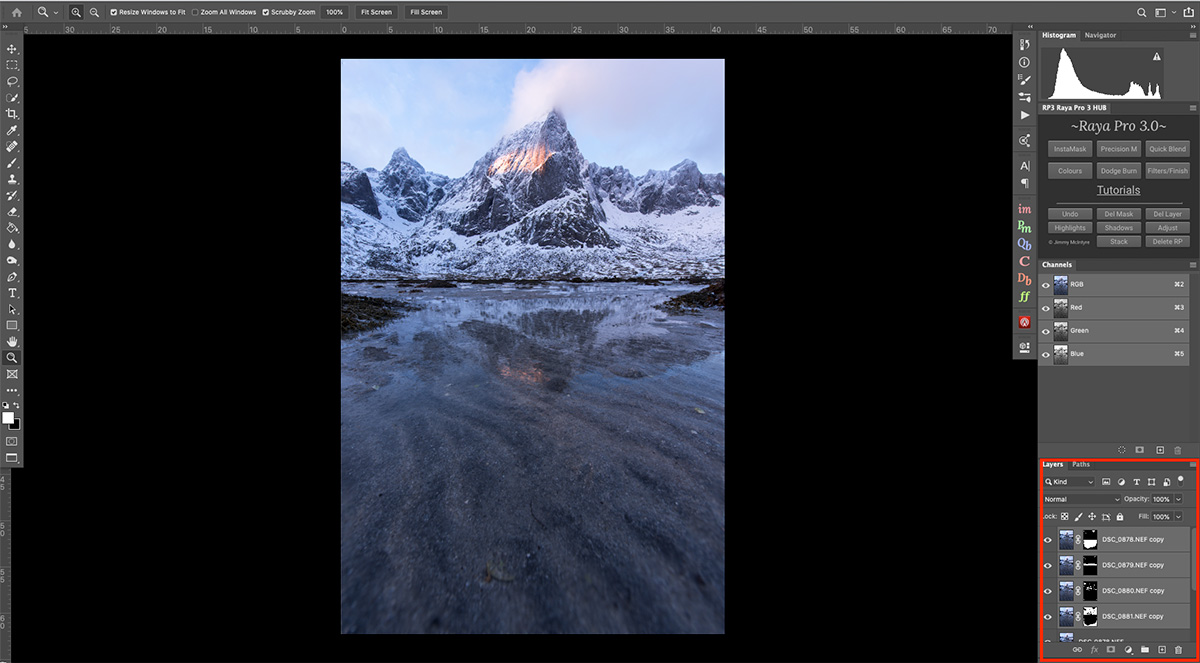 Layers in Photoshop for Focus Stacking