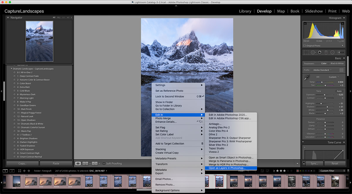 Opening images as Layers in Photoshop from Lightroom