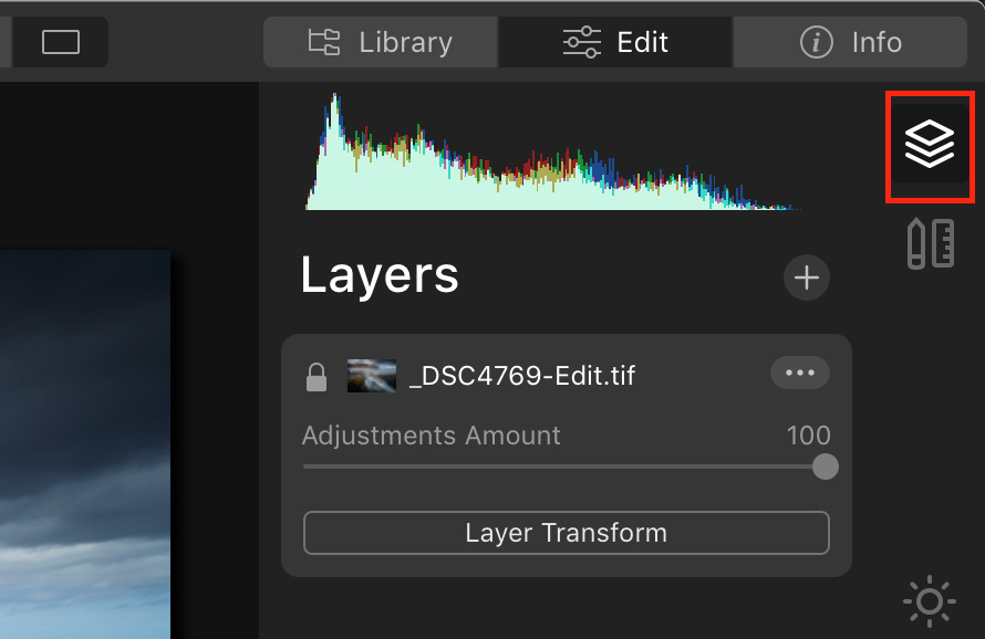 Layers panel in Luminar 4