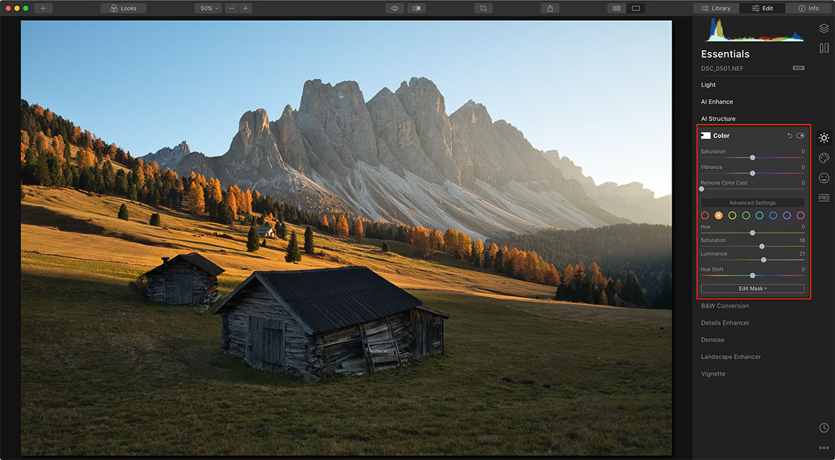 How to Edit Color in Autumn Photographs using Luminar 4