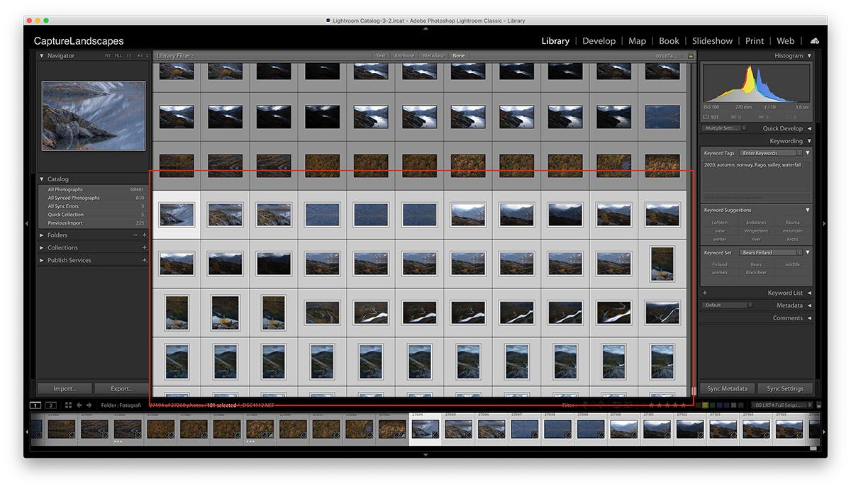 Bulk Selection in Adobe Lightroom