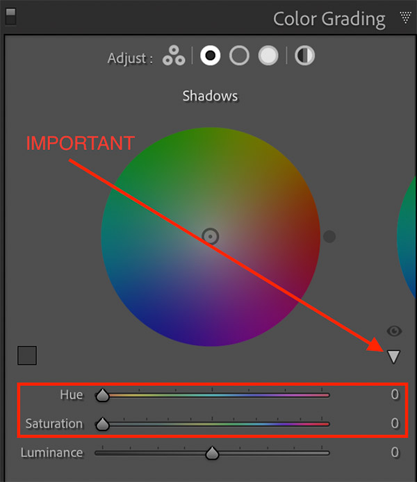 Hue and Saturation sliders in Color Grading tool
