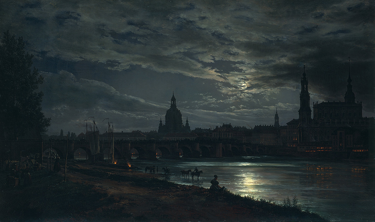 'View of Dresden by Moonlight' by JC Dahl
